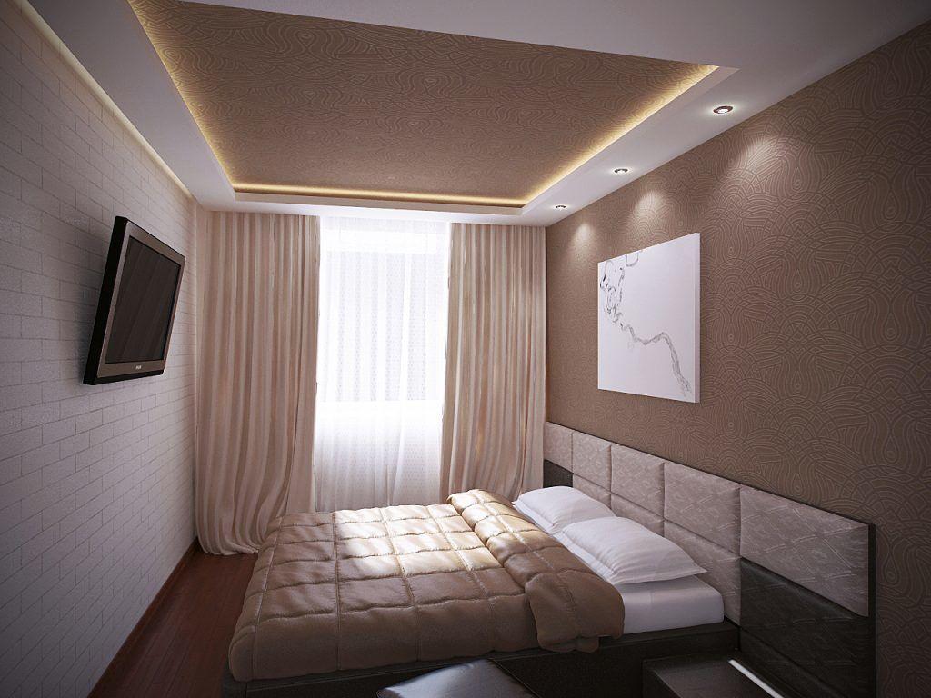 дизайн натяжного потолка в спальне фото крыше